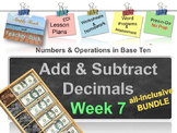 Week 7 model adding subtracting decimals 5th Grade Common Core EDI Math Lesson