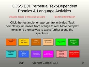 Common Core EDI Perpetual Text-Dependent Authentic Phonics & Language Activities