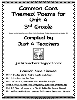 Common Core ELA-3rd Grade Unit 4 Suggested Poems