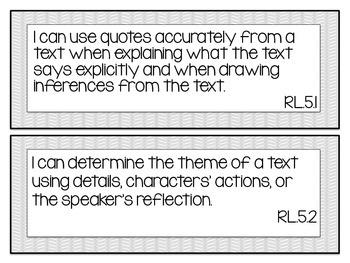 Common Core ELA 5th Grade I can statement signs (mauve & grey)