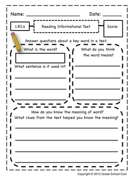 Common Core ELA Assessments Grade 1 (Reading Informational Text)