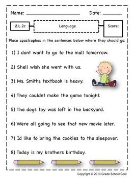 Common Core ELA Assessments Grade 2 (Language)