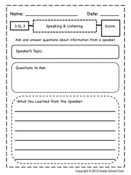 Common Core ELA Assessments Grade 3 (Speaking & Listening)