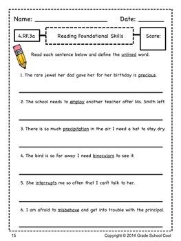 Common Core ELA Assessments Grade 4 (Reading Foundational Skills)