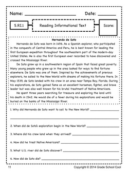 Common Core ELA Assessments Grade 5 (Reading Informational Text)