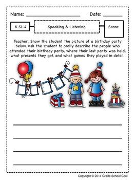 Common Core ELA Assessments Grade K (Speaking & Listening)