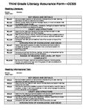 Common Core ELA Assurance Form Template- 3rd Grade