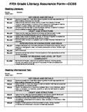 Common Core ELA Assurance Form Template- 5th Grade
