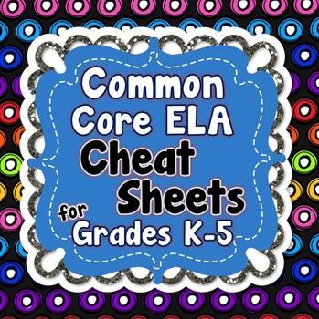 Common Core ELA Cheat Sheets for Grades K-5