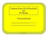Common Core ELA Checklist for 3rd Grade – 4 Marking Periods!