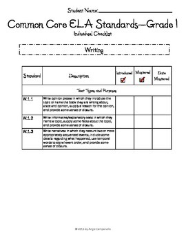 Common Core ELA Checklists - Grade 1