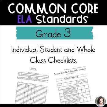 Common Core ELA Checklists - Grade 3