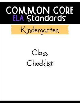 Common Core ELA Checklists - Kindergarten