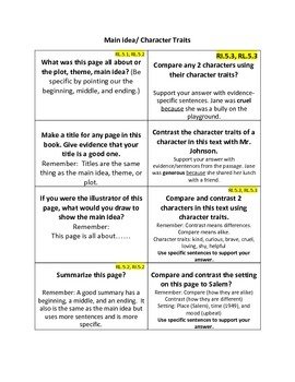 Common Core ELA: Connections, Characters, Summarizing, and Main Idea