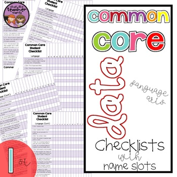 Common Core ELA Data Checklist {1st Grade}