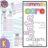 Common Core ELA Data Checklist {Kindergarten}