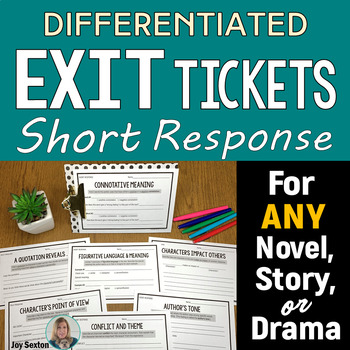 Differentiated Short Response - Exit Slips for ANY Literature - CCSS Aligned