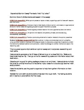 Common Core ELA Expository writing 5th grade: Fantastic Field Trip