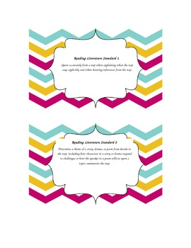 Common Core ELA Grade 5 Literature Standards Chevron Border