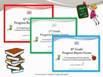 Common Core ELA Progress Report Forms Mega Bundle Grades Pre-K-8