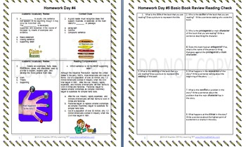 ELA Homework Activities Pack 1.2 (Common Core Aligned)