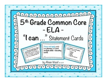 """Common Core ELA """"I Can"""" Statement Cards 5th Grade Turquoise"""