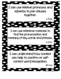 "Common Core ELA ""I Can"" Statements 4th Grade- Black and White"