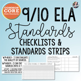 Common Core 9/10 ELA Checklists + Standard Strips