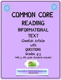 Common Core ELA Informational Text Article (Cheetah)