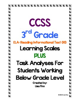 Common Core ELA: Informational Text Learning Scales (3rd Grade)