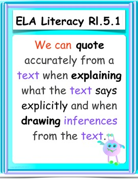 Common Core ELA Informational Text Rl.5.1 - Rl.5.10 POSTERS