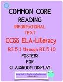 Common Core ELA Informational Text Rl.5.1 - Rl.5.10 POSTERS