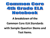 Common Core ELA Interactive Notebook Grade 4