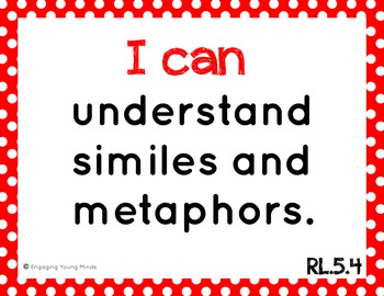"""Common Core ELA Kid Friendly """"I Can"""" Statements for 5th Grade"""