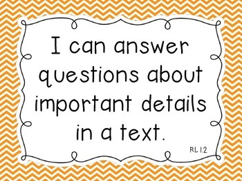 "Common Core ELA Kindergarten ""I Can"" Standards Chevron Theme"