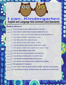 "Common Core ELA Kindergarten ""I Can"" Statements"