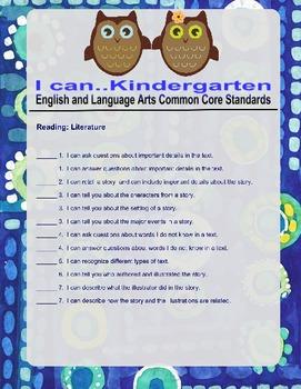 "Common Core ELA Kindergarten Reading Literature ""I Can"" statements"
