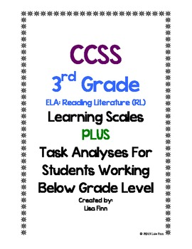 Common Core ELA: Reading Literature Learning Scales (3rd Grade)