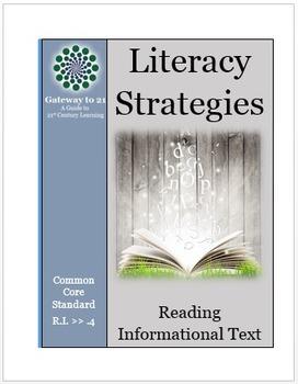 Common Core Literacy Strategies/Centers (CCSS.ELA-RI.>>4) (Grades 2-8)