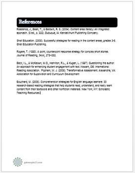 Common Core Literacy Strategies/Centers (CCSS.ELA-RI.>>6) (Grades 2-8)