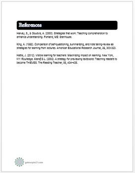 Common Core Literacy Strategies/Centers (CCSS.ELA-RI.>>7) (Grades 2-8)