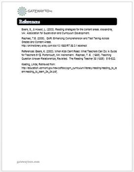 Common Core Literacy Strategies/Centers ( CCSS.ELA-RI >>.1) (Grades 2-8)