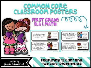 Common Core: ELA & Math Assessments, Checklists, & Posters Grade 1 Combo Pack