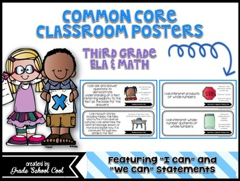 Common Core: ELA & Math Assessments, Checklists, & Posters Grade 3 Combo Pack