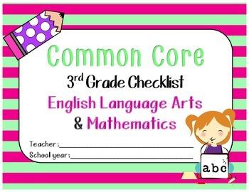 Common Core ELA & Math Checklist for 3rd grade (w/o notes section)