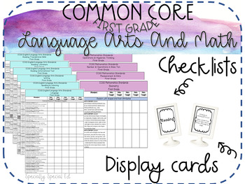Common Core ELA & Math Checklists and Display Cards for FIRST GRADE