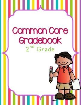 Common Core ELA & Math Gradebook {2nd Grade} for 20 students