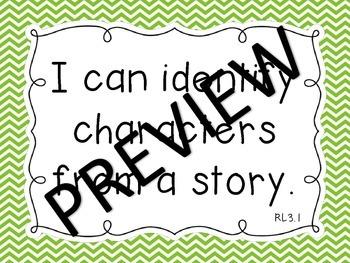 "Common Core ELA & Math Kindergarten ""I Can"" Standards Chevron Theme"