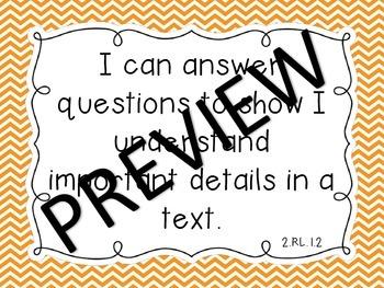 """Common Core ELA & Math Second Grade """"I Can"""" Standards Chevron Theme"""