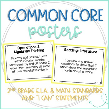 Common Core ELA & Math Standards and I Can Statements (Full Page Posters) Bundle